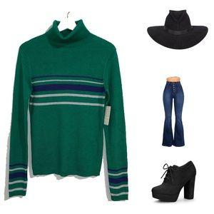 Free People Green Turtleneck Sweater